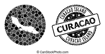 Mosaic Stencil Round Map of Curacao Island and Scratched ...