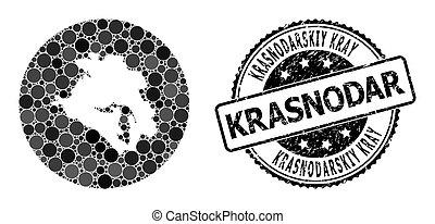 Mosaic Stencil Round Map of Krasnodarskiy Kray and Grunge ...