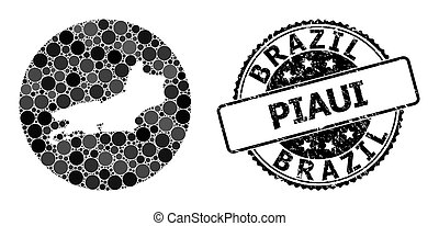 Mosaic Stencil Round Map of Piaui State and Watermark Seal...