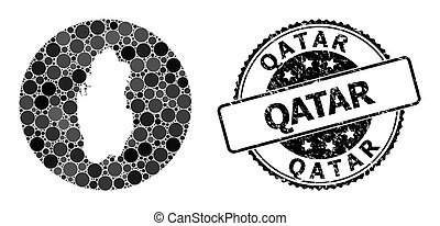 Mosaic Stencil Round Map of Qatar and Scratched Seal