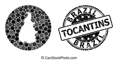 Mosaic Stencil Round Map of Tocantins State and Rubber Seal...