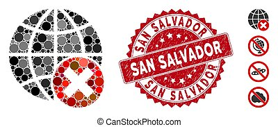 Mosaic stop globalization icon and grunge stamp seal with San Salvador text. Mosaic vector is formed with stop globalization icon and with randomized spheric items. San Salvador seal uses red color,