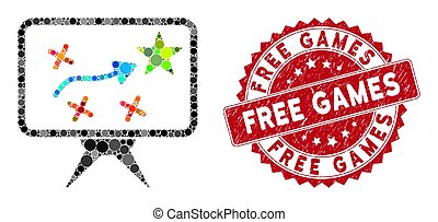 Mosaic Strategy with Textured Free Games Seal