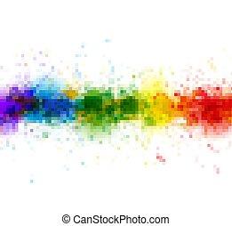 mosaic., taches, peinture aquarelle, clair, eclabousse, fond, pixels