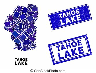 Mosaic Tahoe Lake map and rectangle seal stamps. Flat vector Tahoe Lake map mosaic of scattered rotated rectangular elements. Blue caption seal stamps with scratched textures.