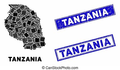 Mosaic Tanzania Map and Scratched Rectangle Stamp Seals