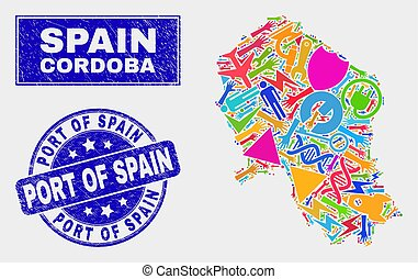 Mosaic Technology Cordoba Spanish Province Map and Scratched Port of Spain Seal