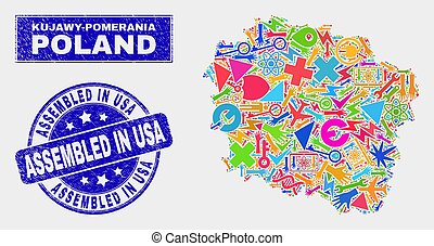 Mosaic Technology Kujawy-Pomerania Province Map and Distress Assembled in USA Seal