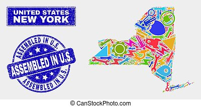 Mosaic Technology New York State Map and Distress Assembled in U.S. Seal