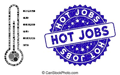 Mosaic Temperature Icon with Textured Hot Jobs Stamp