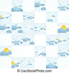 Mosaic theme. Good weather background. Blue sky with clouds. Vector