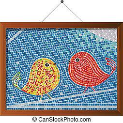 Mosaic tile birds