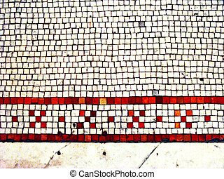 old stone tile floor with mosaic inlay pattern in red and white; vintage 1800s
