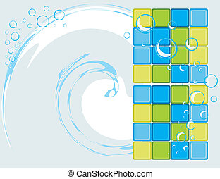 Mosaic tiles for bathroom. Abstract background. Vector...