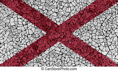 Mosaic Tiles Painting of Alabama Flag