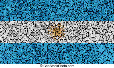 Mosaic Tiles Painting of Argentina Flag