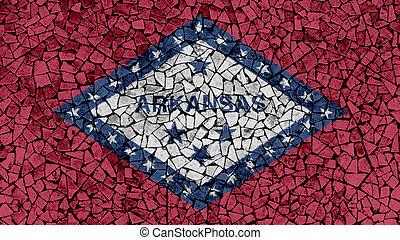Mosaic Tiles Painting of Arkansas Flag