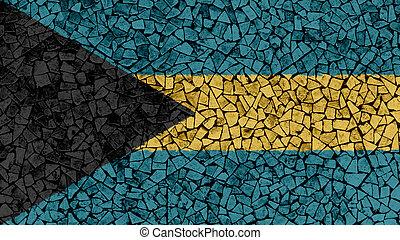 Mosaic Tiles Painting of Bahamas Flag