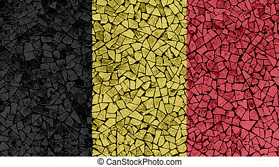Mosaic Tiles Painting of Belgium Flag