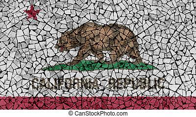 Mosaic Tiles Painting of California Flag