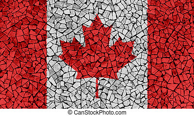Mosaic Tiles Painting of Canada Flag
