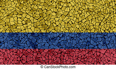 Mosaic Tiles Painting of Colombia Flag