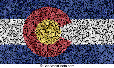 Mosaic Tiles Painting of Colorado Flag
