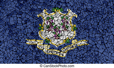 Mosaic Tiles Painting of Connecticut Flag