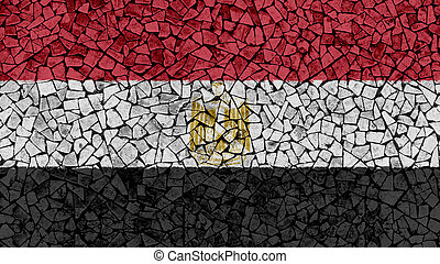 Mosaic Tiles Painting of Egypt Flag