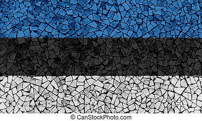 Mosaic Tiles Painting of Estonia Flag