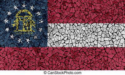 Mosaic Tiles Painting of Georgia Flag