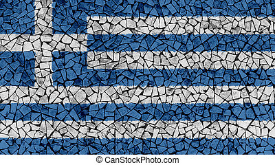 Mosaic Tiles Painting of Greece Flag