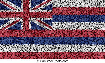 Mosaic Tiles Painting of Hawaii Flag