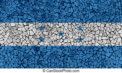 Mosaic Tiles Painting of Honduras Flag