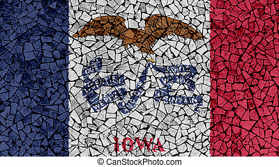 Mosaic Tiles Painting of Iowa Flag