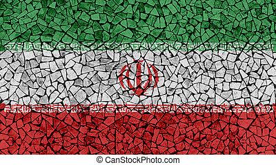 Mosaic Tiles Painting of Iran Flag