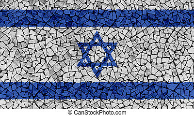 Mosaic Tiles Painting of Israel Flag