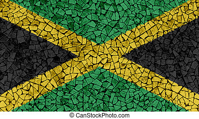 Mosaic Tiles Painting of Jamaica Flag