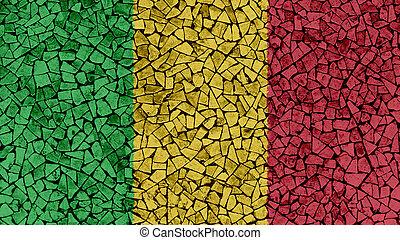 Mosaic Tiles Painting of Mali Flag