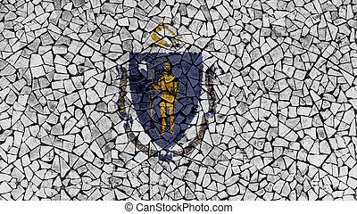 Mosaic Tiles Painting of Massachusetts Flag