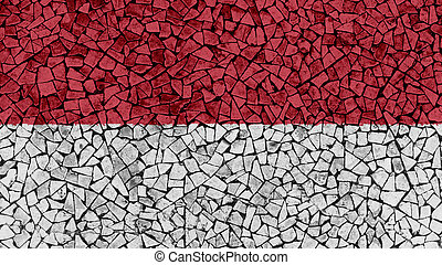 Mosaic Tiles Painting of Monaco Flag