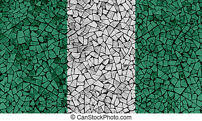 Mosaic Tiles Painting of Nigeria Flag
