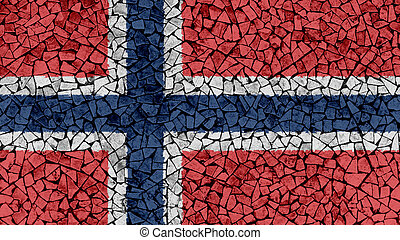 Mosaic Tiles Painting of Norway Flag