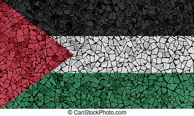 Mosaic Tiles Painting of Palestine Flag