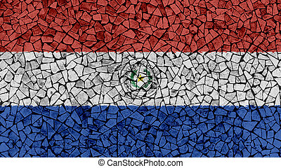 Mosaic Tiles Painting of Paraguay Flag