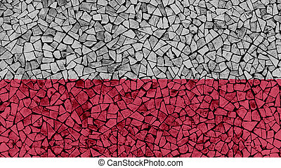 Mosaic Tiles Painting of Poland Flag