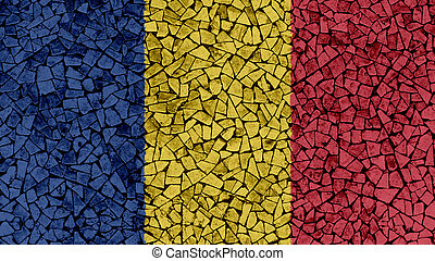 Mosaic Tiles Painting of Romania Flag