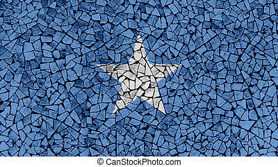 Mosaic Tiles Painting of Somalia Flag