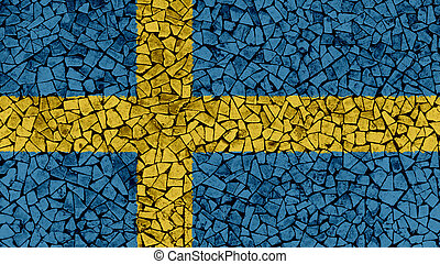 Mosaic Tiles Painting of Sweden Flag