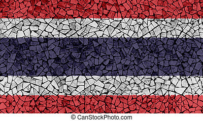 Mosaic Tiles Painting of Thailand Flag